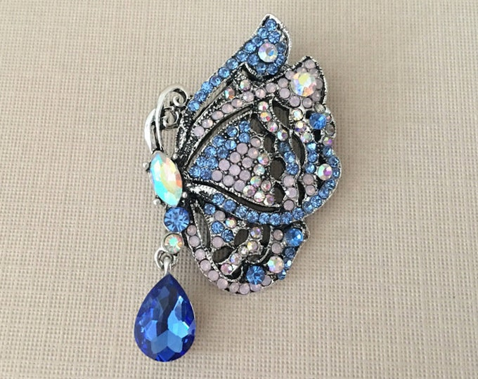 Blue Rhinestone Butterfly Brooch Pin and Pendant