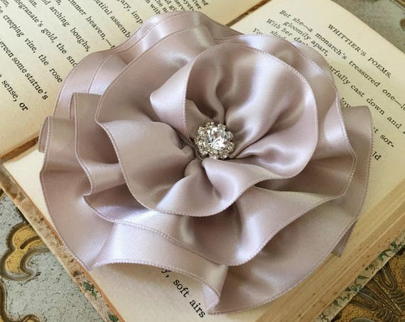 Large Taupe Flower Pin (Brooch) and/or Hair Clip. Choose your button/bead finish. Handmade.