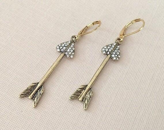 Gold Arrow & Heart Earrings