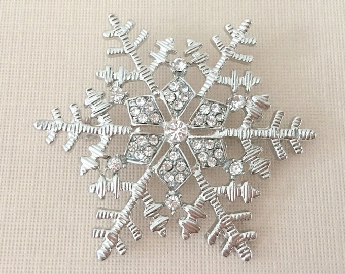 silver & Rhinestone Snowflake Brooch Pin. Choose Silver or Platinum Color.