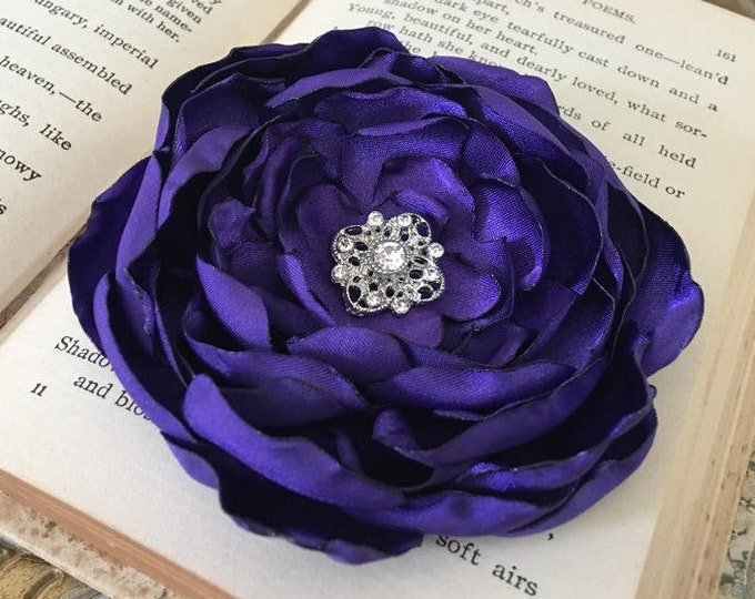 Purple Handmade Flower Brooch Pin or Hair Clip. Choose your size and button/bead finish. Handmade.