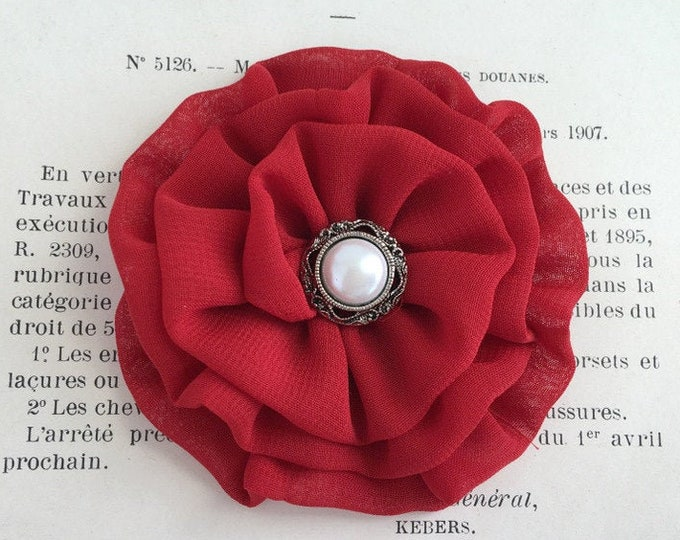 Small Red Fabric Flower Hair Clip, Brooch Pin, or Hair Pin. Handmade. Choose button/bead finish.