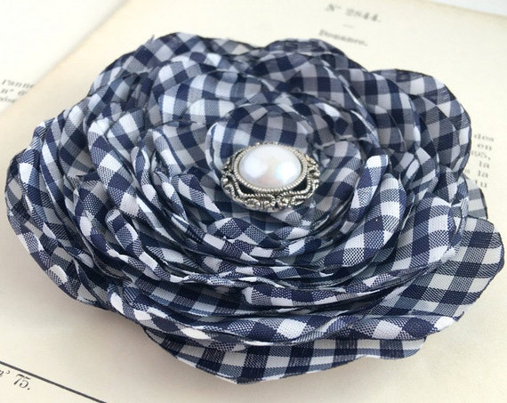 Navy & White Gingham Flower Brooch Pin or Hair Clip. Choose button/bead finish.