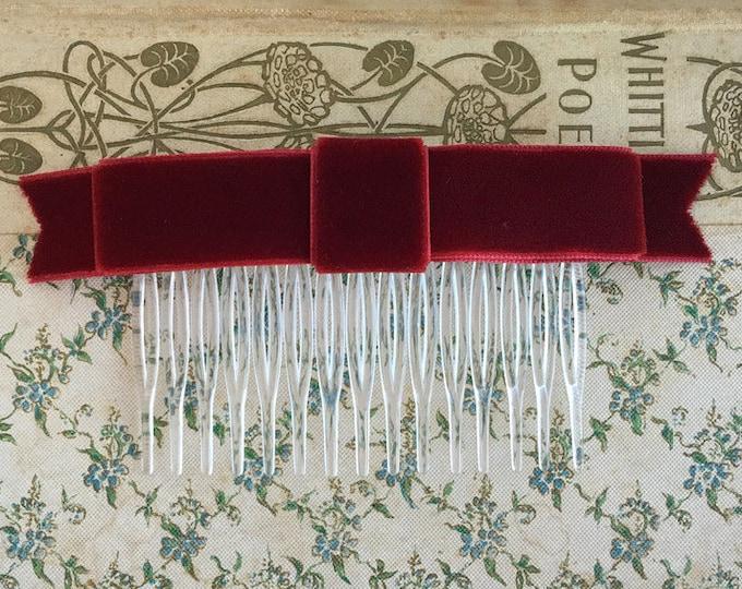 Burgundy Classic Velvet Bow Hair Comb