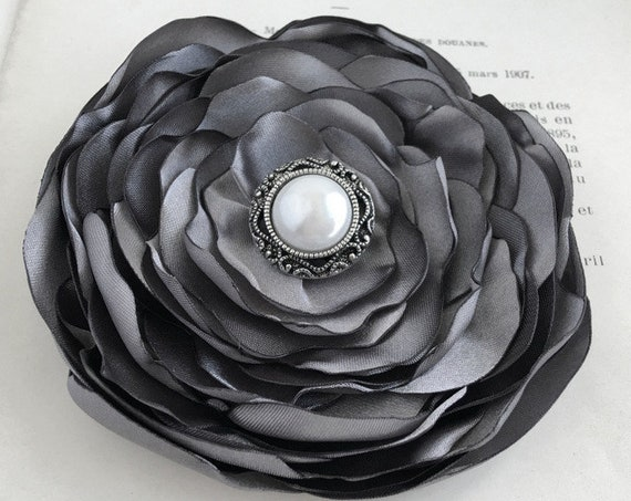 Gray Satin Fabric Flower Hair Clip or Brooch Pin. Choose size and button/bead finish. Handmade.