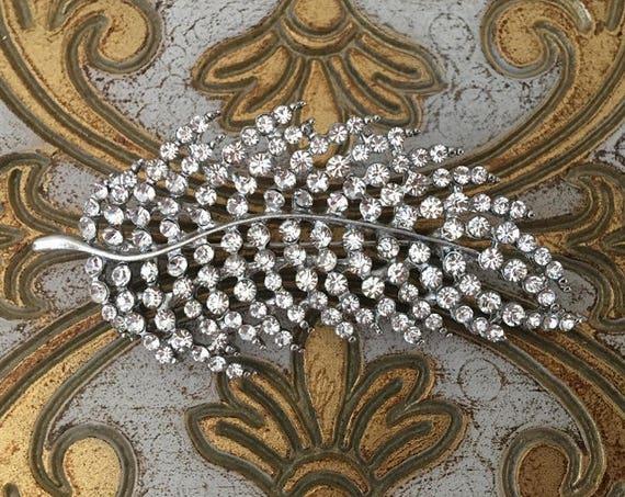 Rhinestone & Platinum Feather Brooch Pin
