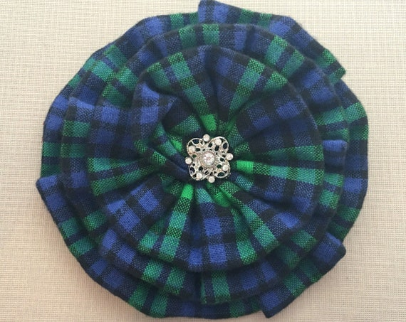 Blue & Green Plaid Flower Brooch Pin and/or Hair Clip. Choose your button/bead finish. Handmade.