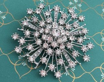 Art Deco Brooch.Rhinestone Brooch.Starburst Brooch.Starburst pin.Wedding Dress Brooch.Snowflake crystal pin.Star Brooch Pin.Starburst Broach
