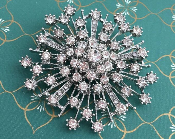 Art Deco Rhinestone Brooch Pin. Vintage Style Costume Jewelry.