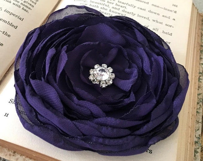 Aubergine Fabric Flower Hair Clip or Brooch Pin (eggplant purple). Choose your size and button/bead finish. Handmade.
