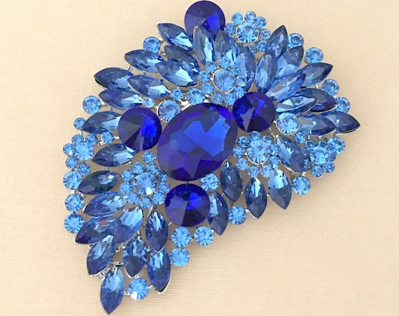 Large Blue & Platinum Rhinestone Brooch Pin