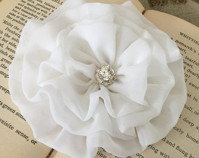 Large White Flower Hair Clip or Brooch Pin. Choose button/bead finish. Handmade.