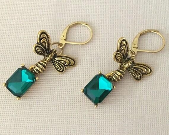 Gold & Green Dragonfly Earrings