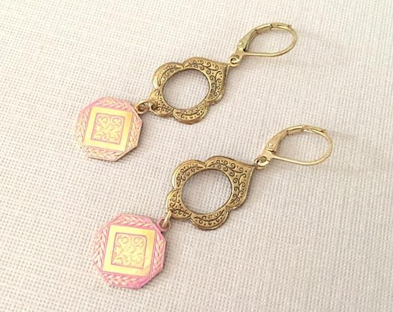 Pink & Gold Bohemian Style Earrings