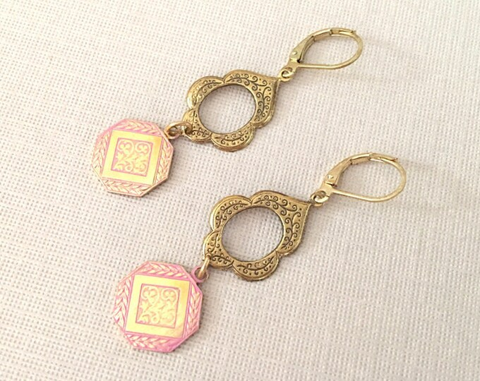 Pink & Gold Bohemian Style Earrings