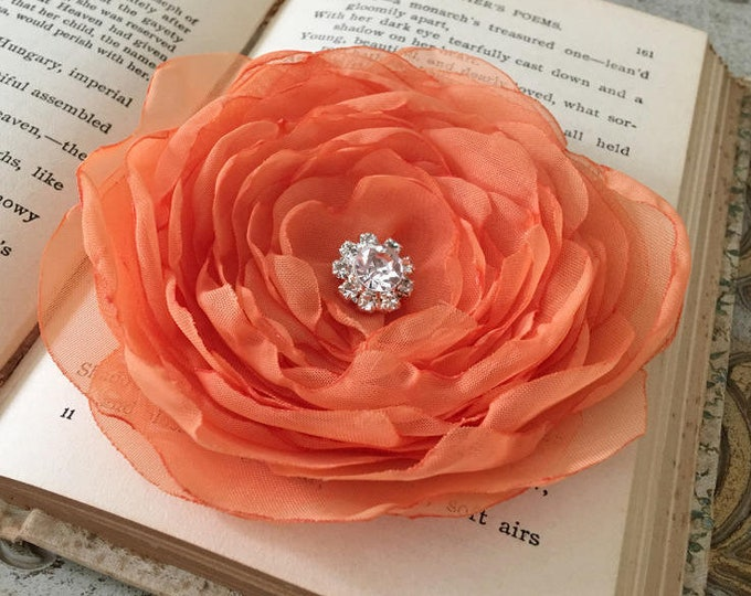 Light Orange Fabric Flower Hair Clip and/or Brooch Pin. Choose your size and button/bead finish. Handmade.