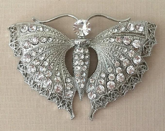 Rhinestone Platinum Butterfly Brooch Pin & Pendant