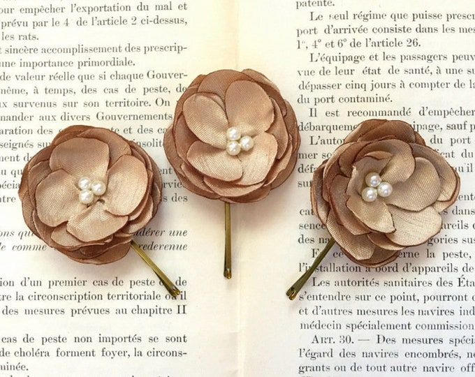 Gold Silk Flower Hair Pin Set of 3.Choose Bead Finish and Bobby Pin Color.