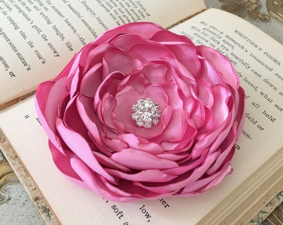 Pink Satin Fabric Flower Hair Clip or Brooch Pin. Choose your button/bead finish. Handmade.