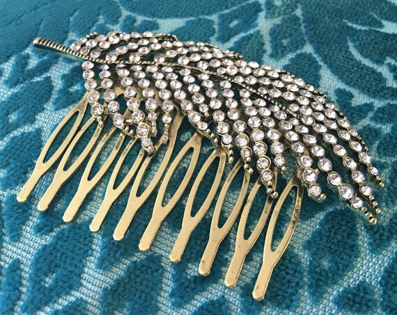 Antique Gold Crystal Leaf Hair Comb. Last one available.