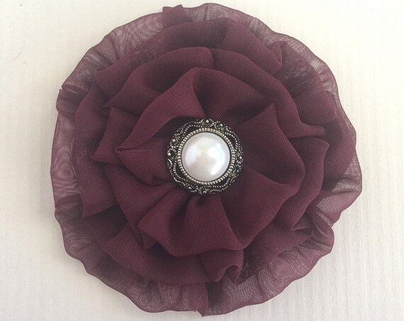 Maroon Fabric Flower Hair Clip and/or Brooch Pin. Choose your button/bead finish. Handmade.