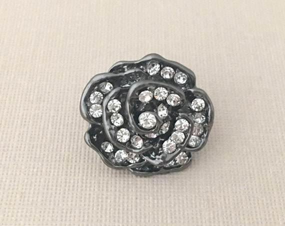 Gunmetal Silver Flower Lapel Pin or Tie Tack