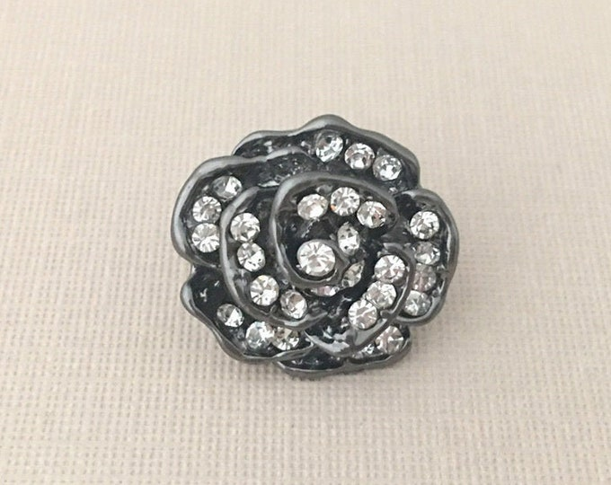 Gunmetal Silver Flower Lapel Pin or Tie Tack (clutch pin)