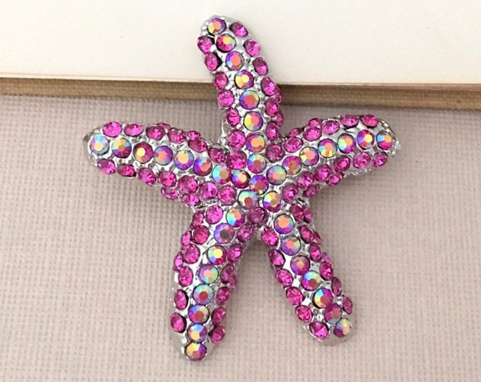 Pink Rhinestone Starfish Brooch Pin