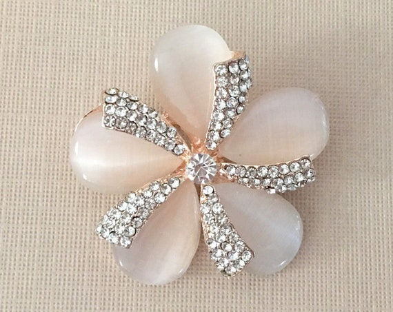 Rose Gold & Pink Flower Brooch Pin