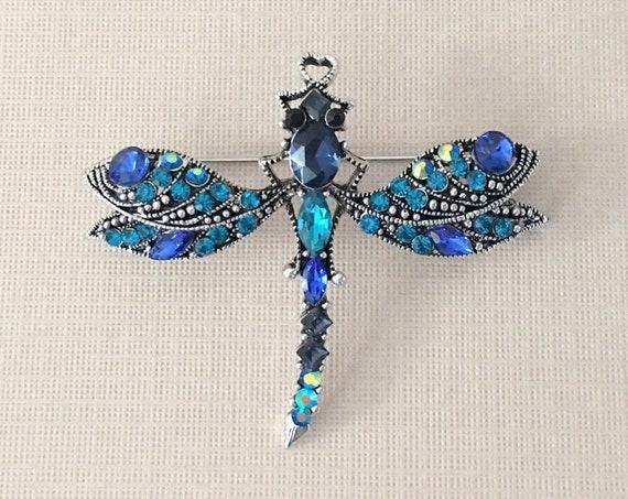 Navy Dragonfly Brooch Pin