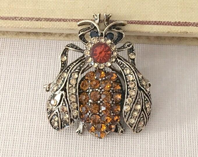 Rhinestone Bee Brooch.Bee Brooch.Brown Bee Brooch Pin.Topaz Rhinestone Brooch.Brown & Champagne Brooch.Brown Bee Crystal Brooch.Antique Gold