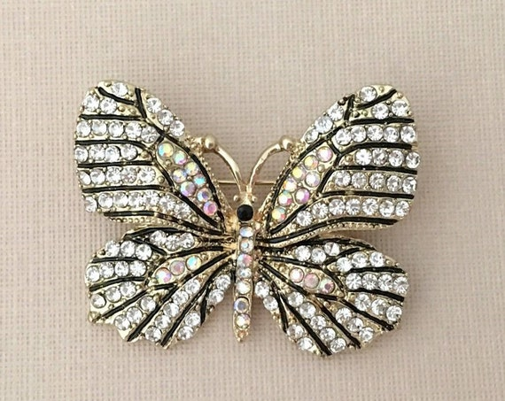 Gold Butterfly Pin.Gold Rhinestone Butterfly Brooch.Gold Crystal Butterfly Brooch.Aurora Borealis Butterfly Brooch.Butterfly Embellishment