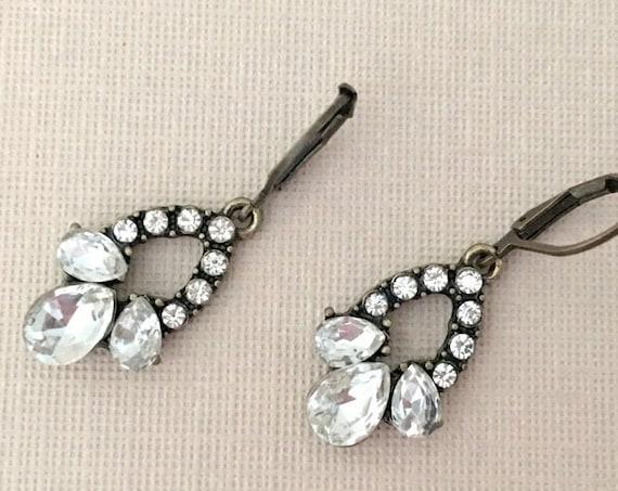Bronze & Rhinestone Dangle Earrings
