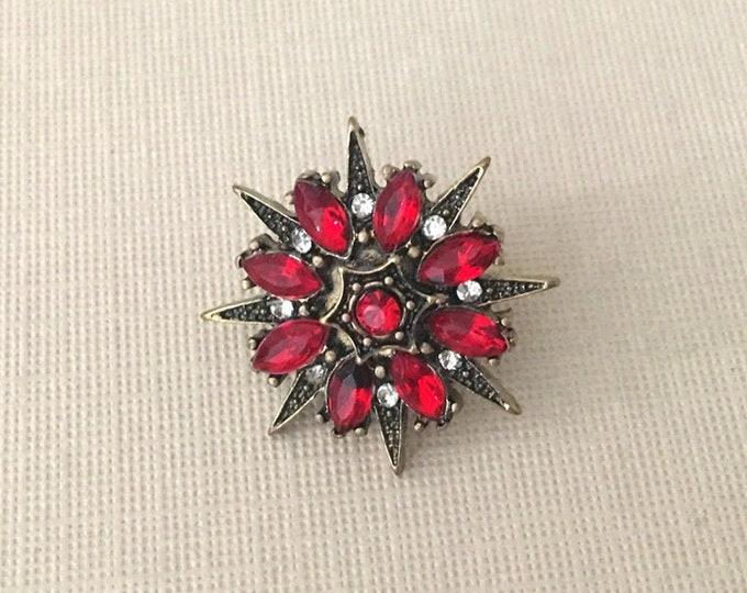 Red Starburst Lapel Pin or Tie Tack