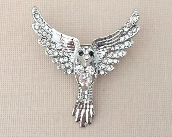 Thunderbird Pin.Thunderbird Brooch.Silver Rhinestone Thunderbird Pin.Silver Crystal Thunderbird Brooch.Native American Pin.Bird Brooch Pin