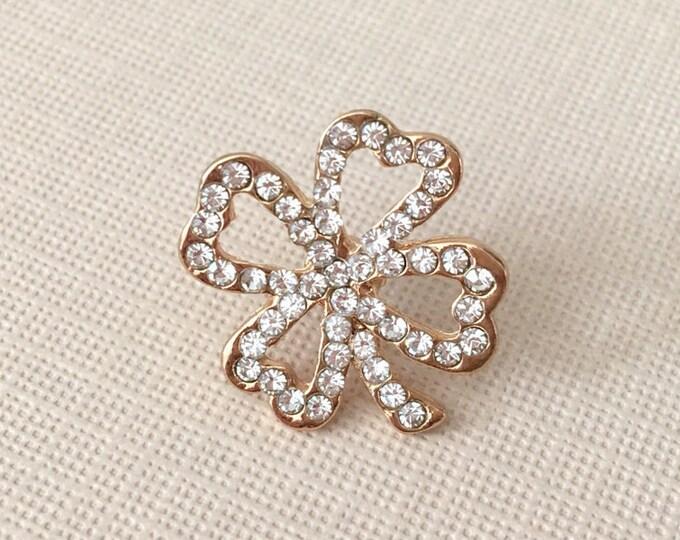 Gold Shamrock Lapel Pin / Clutch Pin