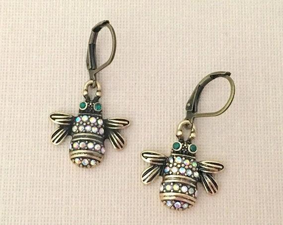 Antique Gold Bee Earrings