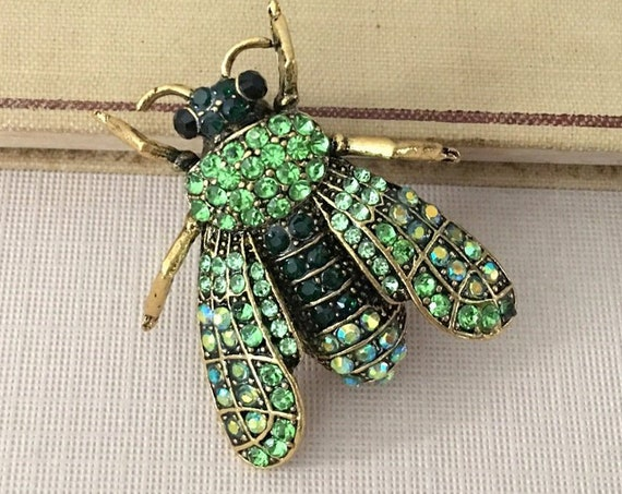 Green & Gold Bee Brooch Pin