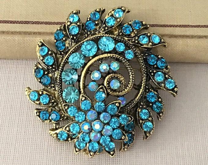 Turquoise & Gold Rhinestone Brooch Pin