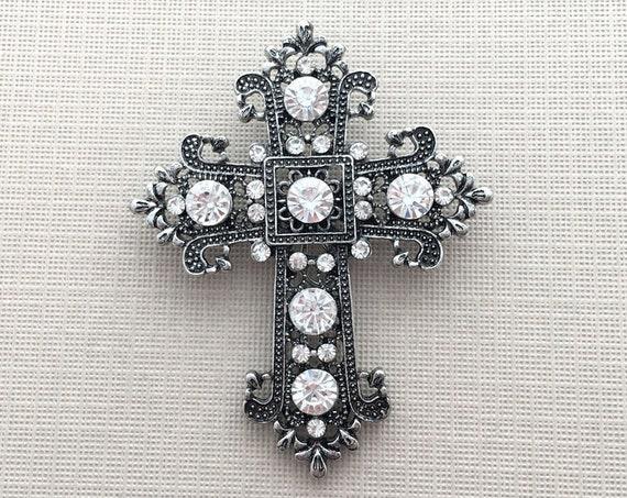 Antique Silver Cross Brooch Pin