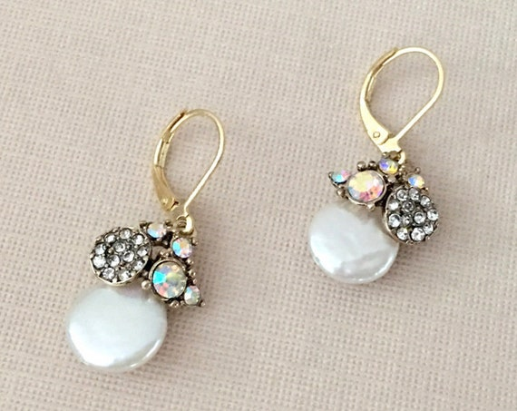 Gold & Mother of Pearl Earrings