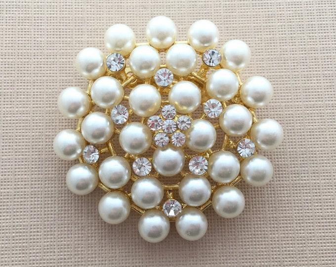 Gold Pearl Rhinestone Brooch Pin