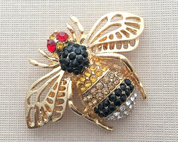 Gold Rhinestone Bee Brooch Pin
