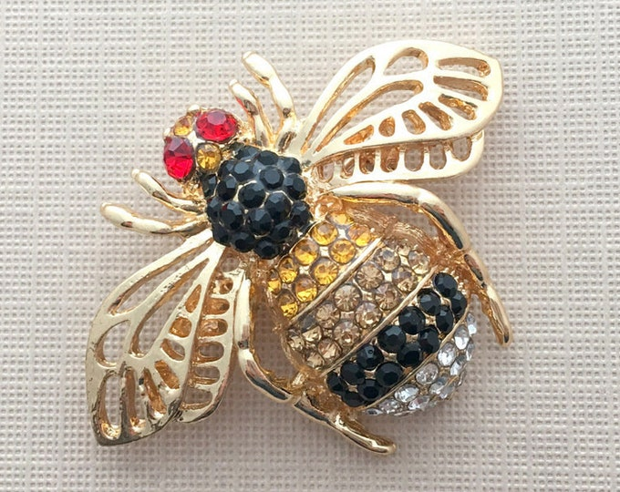 Gold Rhinestone Bee Brooch Pin