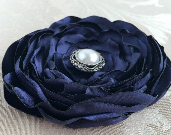 Navy Blue Fabric Flower Hair Clip or Brooch Pin. Choose your size and button/bead finish. Handmade.