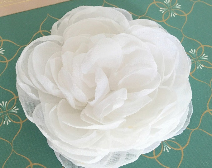 White Fabric Flower Hair Clip, Brooch Pin, Hair Pin, or Hair Comb. Choose your size. Handmade.