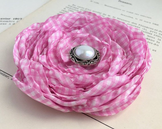 Pink White Gingham Hair Clip or Brooch Pin. Choose your size and button/bead finish. Handmade.