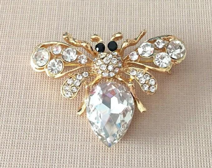 Gold & Rhinestone Bee Brooch Pin