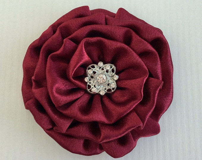 Burgundy Satin Flower Hair Clip and/or Brooch Pin