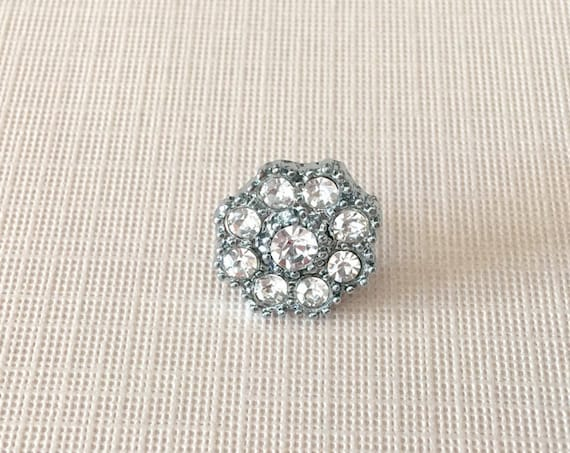 Small Rhinestone Flower Lapel Pin or Tie Tack